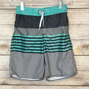 Old Navy Boys Swim Shorts, Teal and Gray, Sz 8